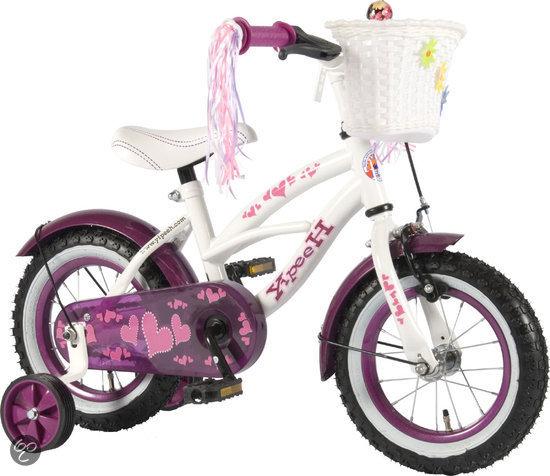 Yipeeh Heartbeat Cruiser - Kinderfiets -12 inch - Meisjes - Wit/Paars