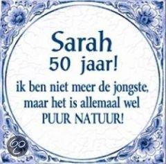 Zeer bol.com | Delfts Blauwe Spreukentegel - Sarah 50 jaar! ik ben niet #VE61