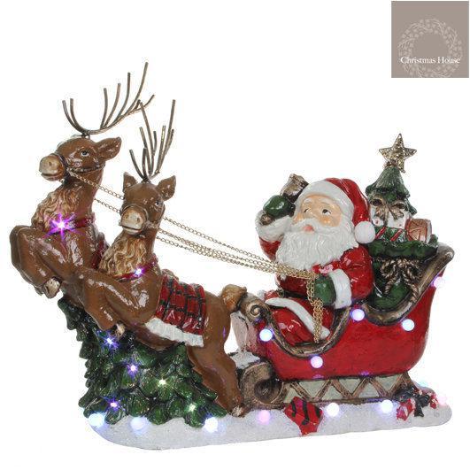 Christmas house kerstdecoratie kerstman op slee led - Afbeelding van decoratie ...