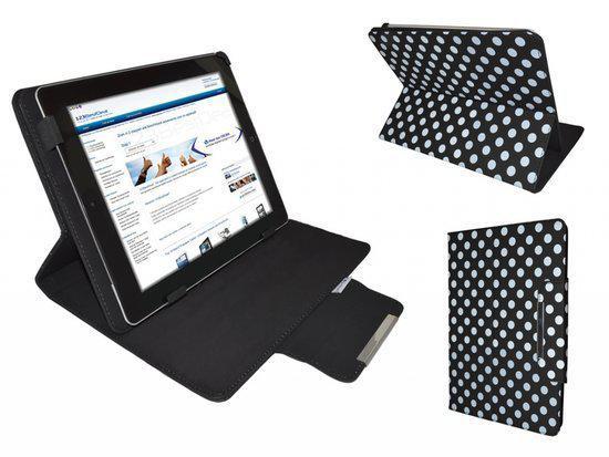 Polkadot Hoes  voor de Mpman Tablet Mp720, Diamond Class Cover met Multi-stand, Zwart, merk i12Cover in Vrijhoeve