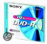 Sony DVD-R 120min/4,7GB 16x 5 stuks in jewelcase