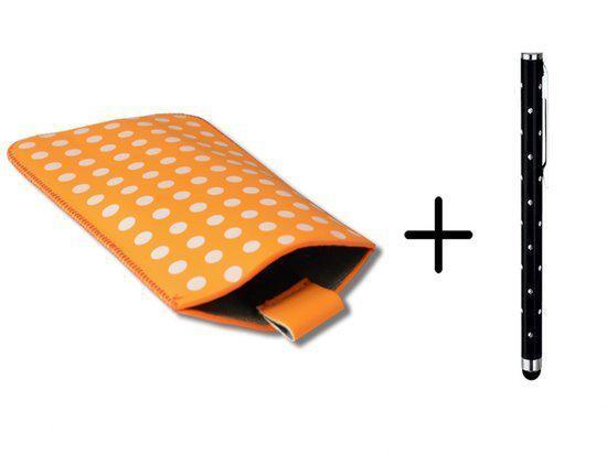 Polka Dot Hoesje voor Htc Desire 610 met gratis Polka Dot Stylus, Oranje, merk i12Cover in Vinkenbroek
