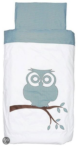 bol com   Jollein Little Naturals   Organic Owl Dekbedovertrek 140×200 cm   Turquoise
