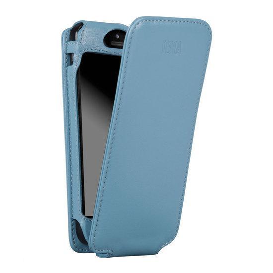 Sena MagnetFlipper iPhone 5 & 5S Lederen Hoes Baby Blauw in Zandburen