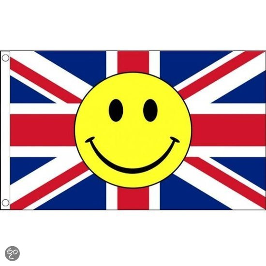 Bol com engelse vlag met smiley 90 x 150 cm