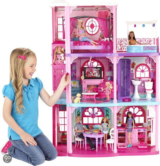 Barbie droomhuis met 3 verdiepingen mattel for Poppenhuis voor barbie