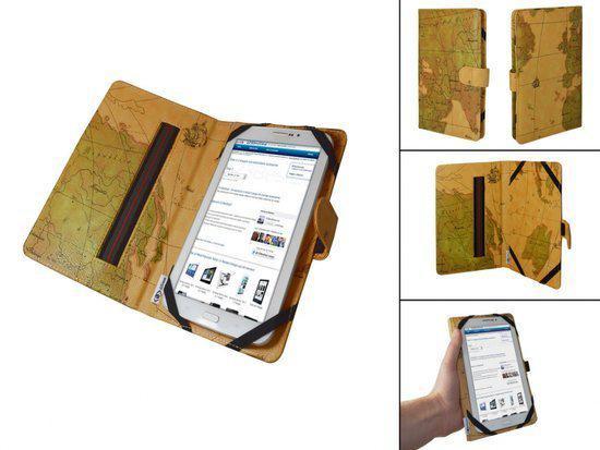 Luxe Book Cover voor Kruidvat Mobility M677 Android 2.3 met retro wereldkaart, , merk i12Cover in Boudewijnskerke