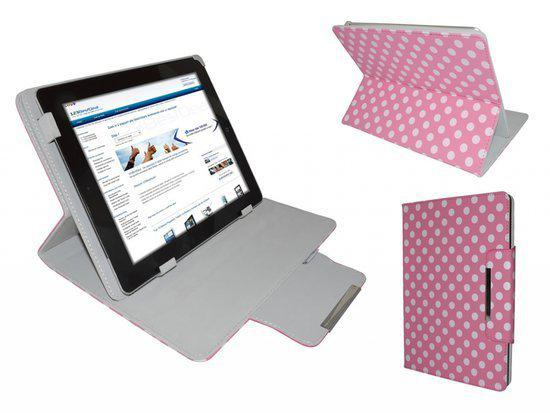 Polkadot Hoes  voor de Prestigio Multireader 5274, Diamond Class Cover met Multi-stand, roze , merk i12Cover in Nivelles