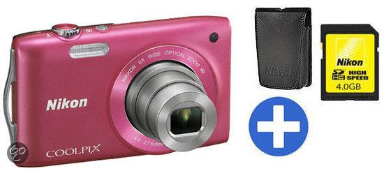 Nikon Coolpix S3300 + Tas + 4Gb SD Kaart - Roze