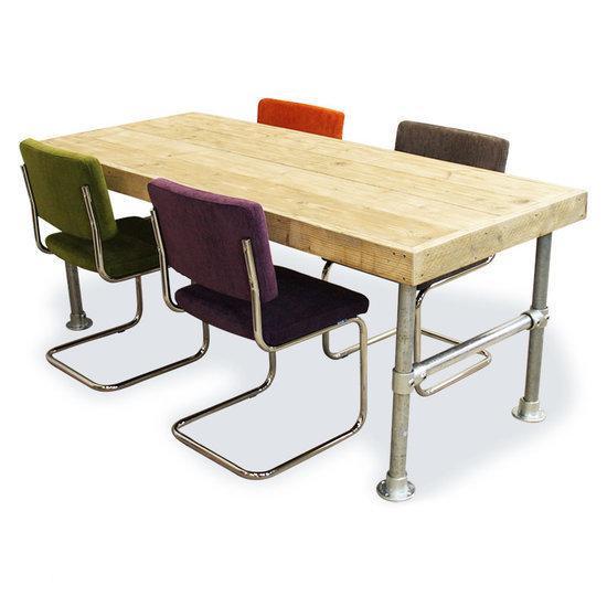 bol.com : Van Abbevu00e9 Set tafel en stoelen Eettafel Van Steigerhout En ...