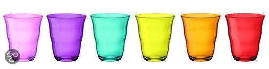6 gekleurde drinkglazen