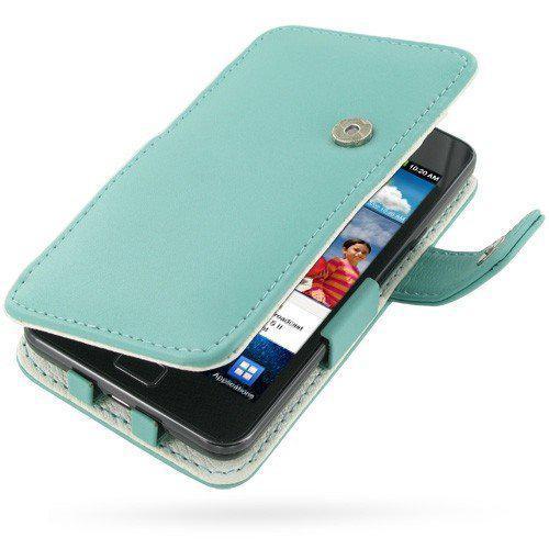 Samsung Galaxy S2 lederen telefoonhoes booktype PDair - aqua