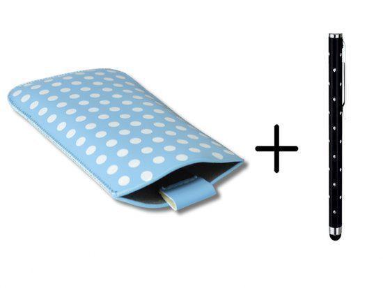 Polka Dot Hoesje voor Zte Grand S Flex met gratis Polka Dot Stylus, Blauw, merk i12Cover in Hogeweg