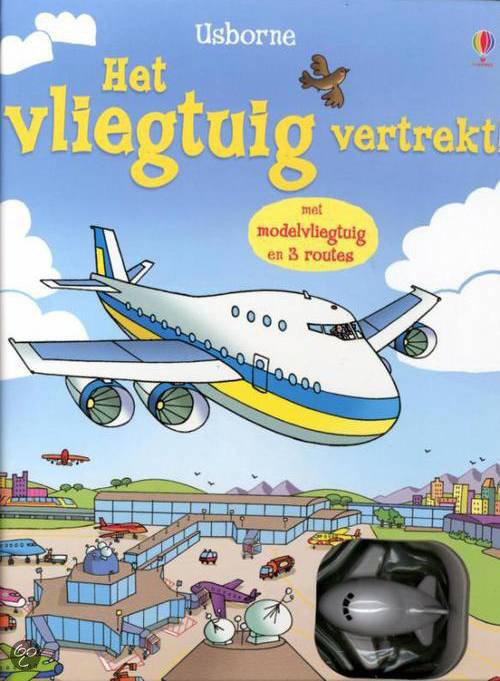 Het vliegtuig vertrekt + met opwindbaar vliegtuig