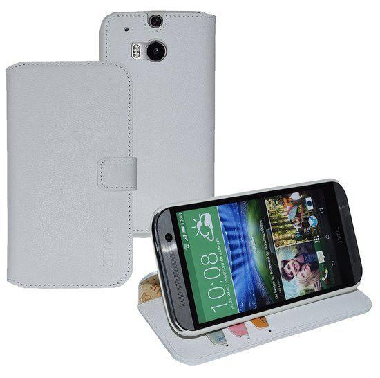 HTC One M8 Echt Leer Portemonnee Hoesje Lederen Wallet Case Cover Wit in Thorembais-Saint-Trond