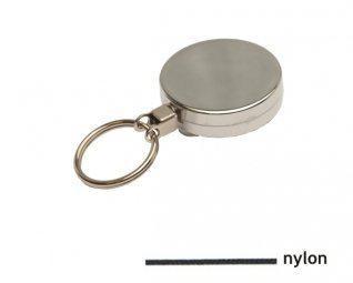 Zilveren metalen yoyo met nylon koord en sleutelring / Skipashouder type EG43