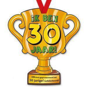 Trofee met lint - Trophy - 30 jaar