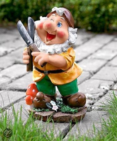 bakker tuinbeeld vrolijke tuinkabouter met