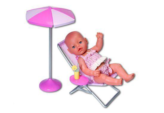 Strandstoel Baby Born.Bol Com Baby Born Ligstoel Met Parasol Zapf Creation Speelgoed