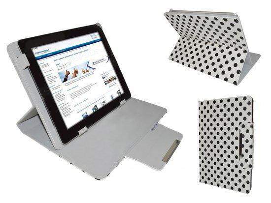 Polkadot Hoes  voor de Ematic Ebook Reader Eb105, Diamond Class Cover met Multi-stand, Wit, merk i12Cover in Bruyelle