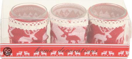 Decostar Rendier Waxinelichthouders Kerst - set van 3