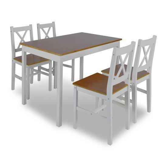 bol.com  vidaXL Eettafel Houten eettafel met 4 stoelen wit bruin ...
