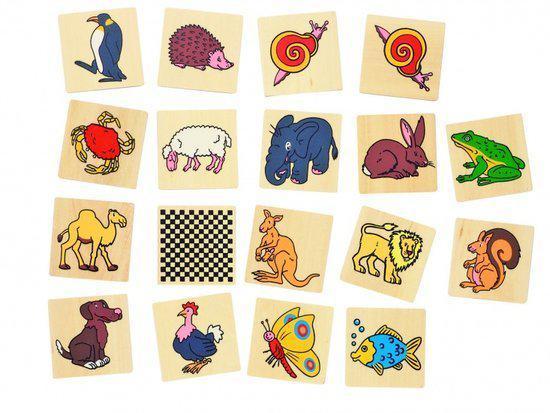Afbeelding van het spel Memory van hout: DIERMOTIEVEN