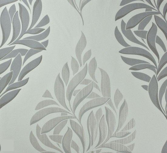 Dutch wallcoverings vliesbehang bladeren wit grijs - Wit behang en grijs ...