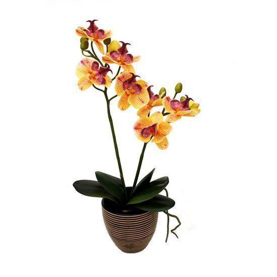 Maxifleur planten orchidee kunstplant 40 cm oranje in bruin keramiek pot - Kussen oranje en bruin ...