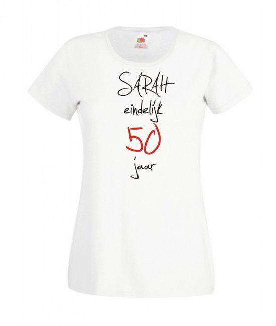 t shirt 50 jaar bol.| Mijncadeautje Dames T shirt wit L Sarah eindelijk 50  t shirt 50 jaar