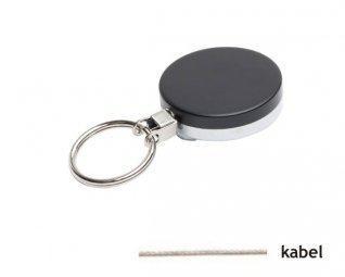 Zwarte metalen yoyo met kabel en sleutelring / Skipashouder type EG43