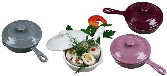 HOFF Mini Pan Terrine - Set van 4 Grijs, Wit, Paars en Taupe