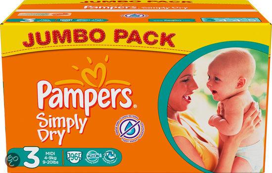 Pampers Simply Dry - Luiers Maat 3 - Jumbo Pack 96st
