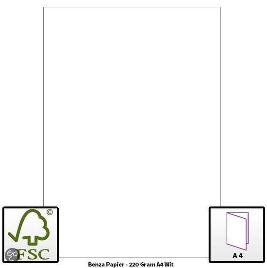 Benza - Hobbykarton om zelf wenskaarten te maken - 220 Gram - A4 - Wit - 10 stuks