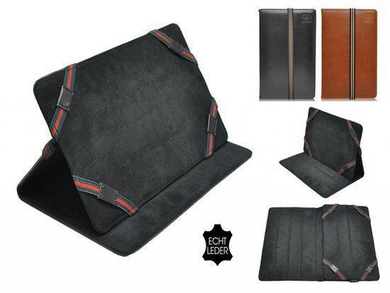 Luxe Cover voor Zenithink Zt 180, Echt lederen Hoes, Multistand Case , Kleur Bruin in Halte