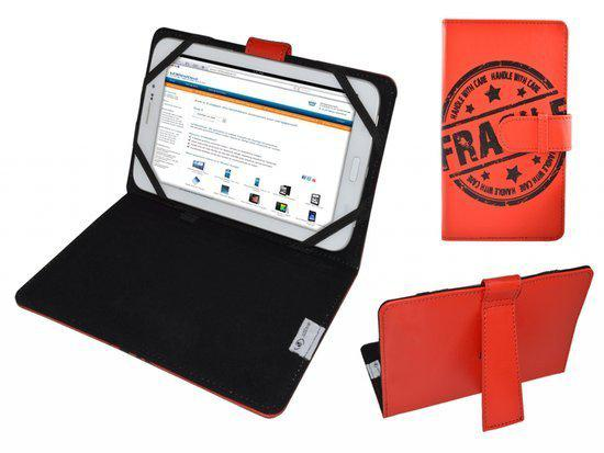 Hoes voor Viewpia Tb 110, Cover met Fragile Print, rood , merk i12Cover in Cranendonck