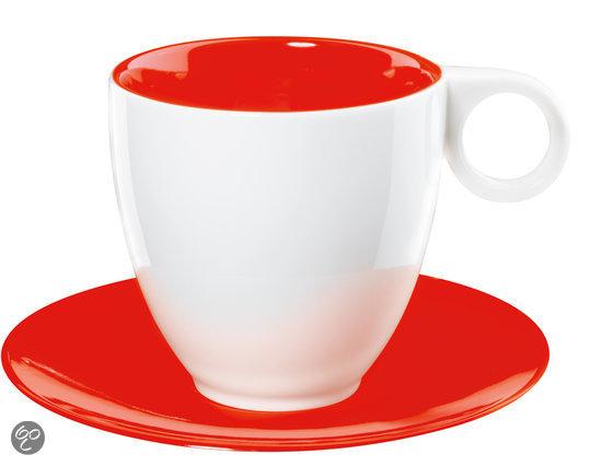 asa selection colour it koffiekop en schotel wit rood. Black Bedroom Furniture Sets. Home Design Ideas