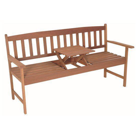 bol com   NuKopen Tuinbank Hardhouten tuin bank zitbank + inklapbaar tafeltje 150cm
