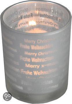 Decostar Stars Frosted Waxinelichthouder Kerst - Large