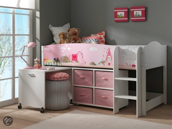 vipack hoogslaper halfhoogslaper met bureau lollipop prinses. Black Bedroom Furniture Sets. Home Design Ideas
