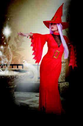 Heks Maia met hoed en riem rood