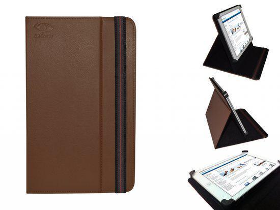 Hoes voor de Archos Elements 80 Platinum, Multi-stand Cover, Ideale Tablet Case, bruin , merk i12Cover in IJzevoorde
