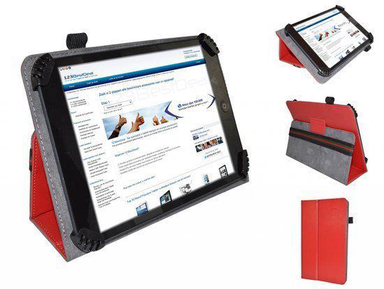 Fold up hoesje voor Lenco Tab 720, rood , merk i12Cover in Wezeren