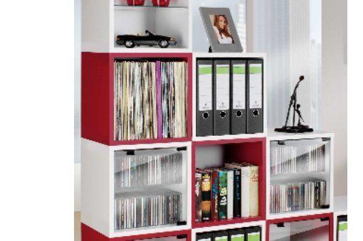 Cd dvd lp rek kast vcm quattro rood for Boeken opbergsysteem