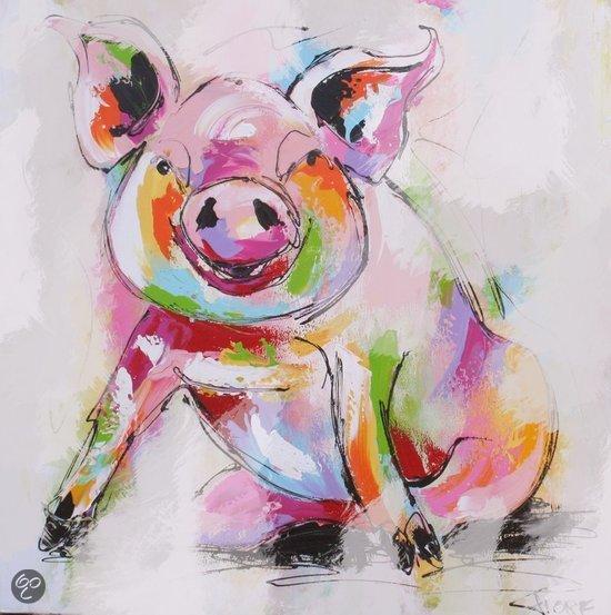 bol.com : Fio Schilderij Biggetje geschilderd op canvas 60 x 60 cm.