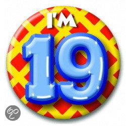 19 jaar Button 19 jaar (55 mm)   HobbyEnSpeelgoed.nl 19 jaar