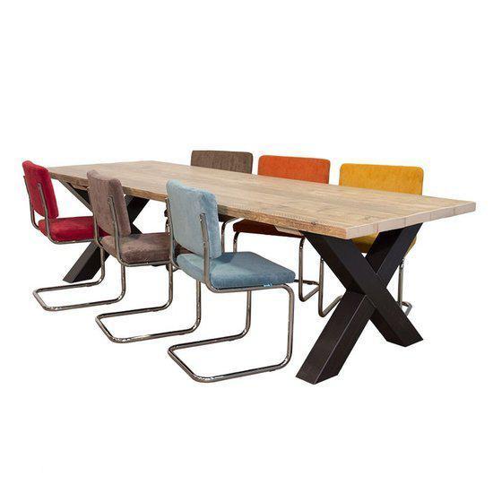 Van abbev set tafel en stoelen industri le eettafel van sloophout met metalen kruispoo - Tafel en stoelen dineren ...