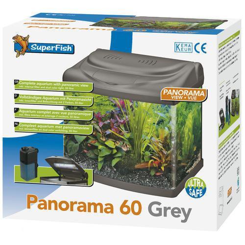 superfish panorama aquarium 60 liter grijs. Black Bedroom Furniture Sets. Home Design Ideas