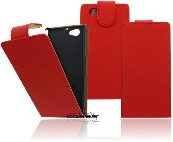 Alternate Rood Flip Case Cover Hoesje Sony Xperia Z1 Mini Compact in Noetsele
