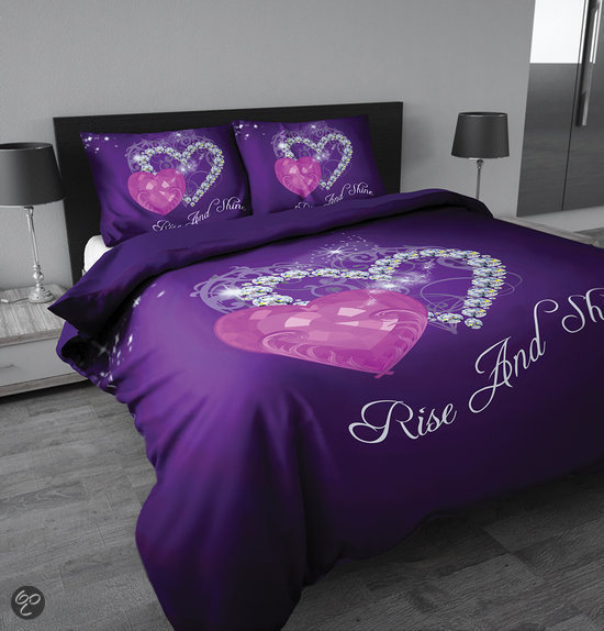 sleeptime rise and shine purple dekbedovertrek 140x200 220 1 kussensloop 60x70 paars. Black Bedroom Furniture Sets. Home Design Ideas